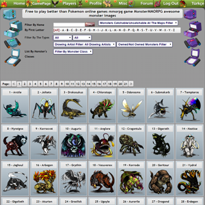Listing All Monsters Page