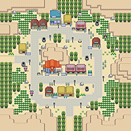 Central Desert Town Game Map for Pokemon Online Players Route Order: 158