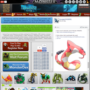 Home Page Screenshot of Monster MMORPG Game